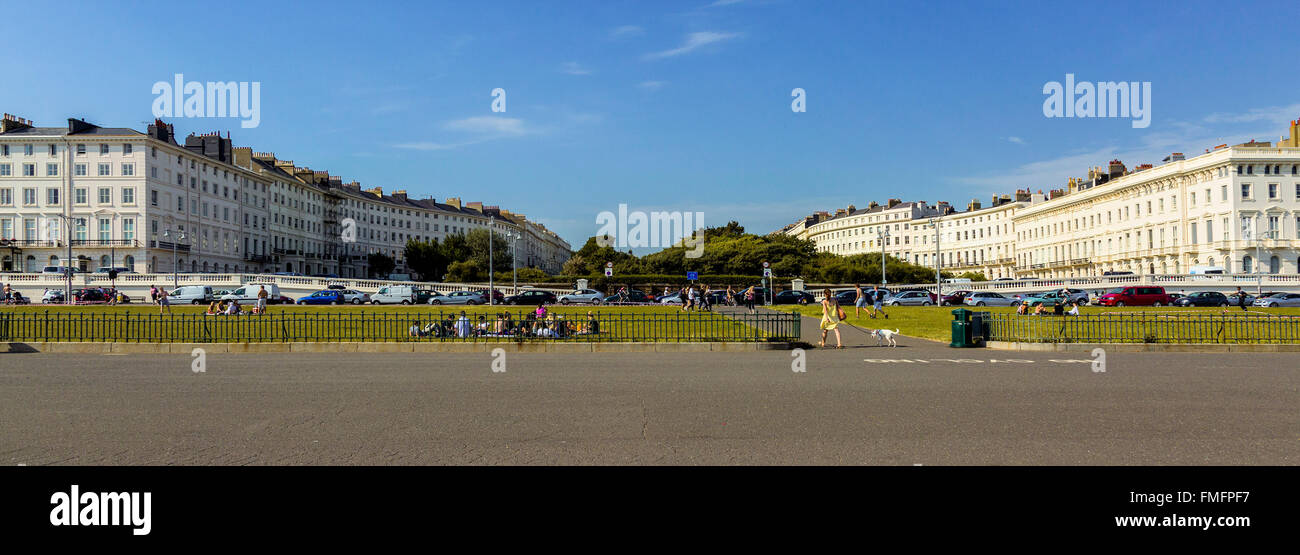 Brighton and Hove regency / Edwardian / Victorian architecture, illustrating it's past. The main promenade showing Stock Photo