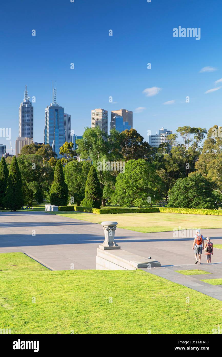 Skyline from Shrine of Remembrance, Melbourne, Victoria, Australia - Stock Image