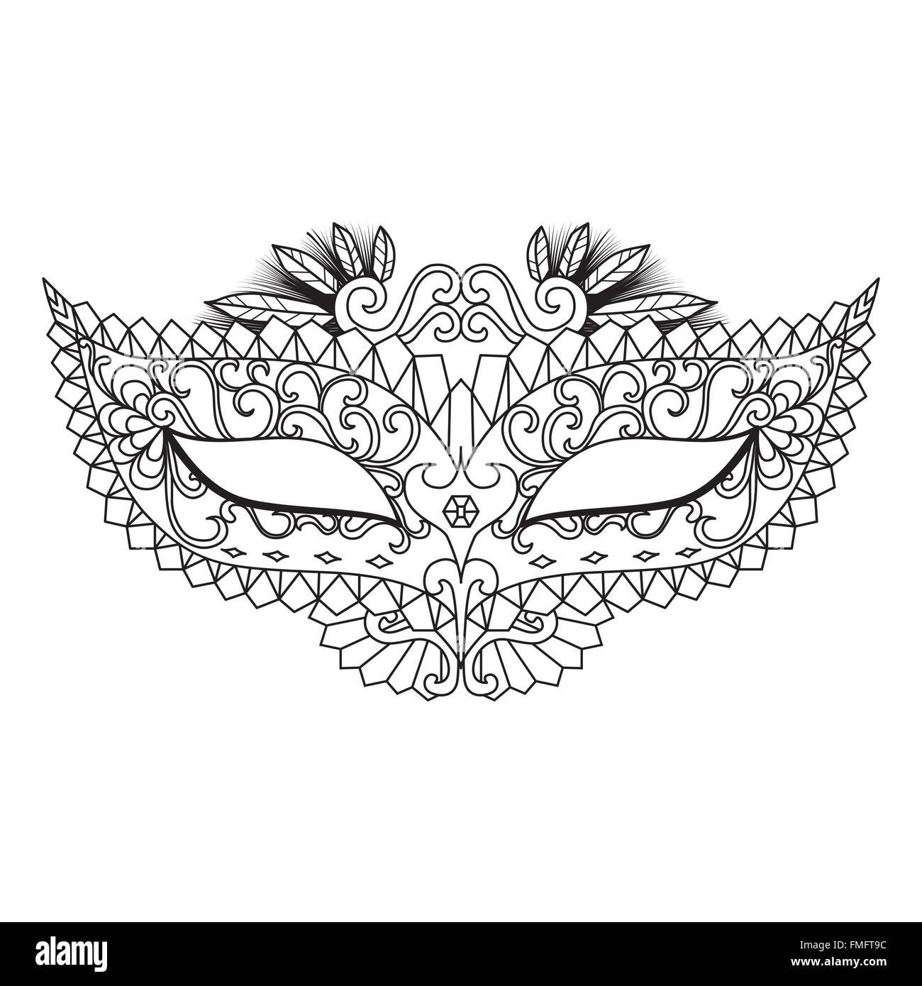 Mardi Gras Carnival Mask for coloring book and other decorations - Stock Vector