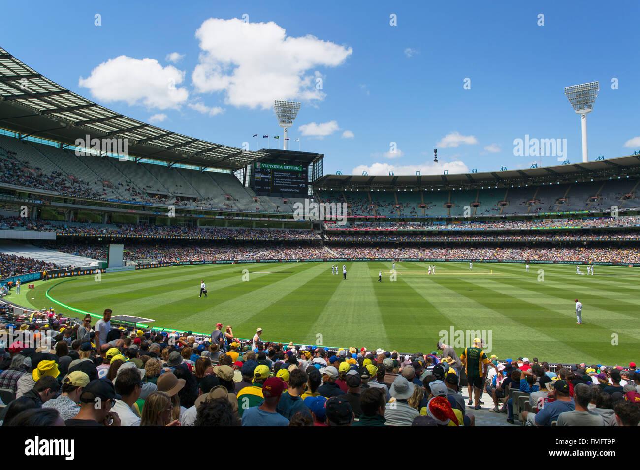 Cricket match at Melbourne Cricket Ground (MCG), Melbourne, Victoria, Australia - Stock Image