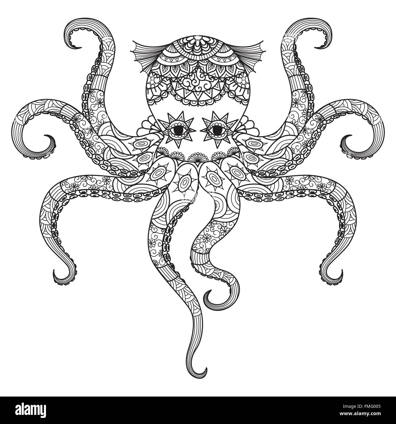 Drawing Octopus Zentangle Design For Coloring Book For Adult