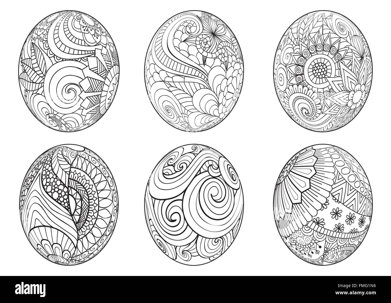 Zentangle Easter Eggs For Coloring Book Adult