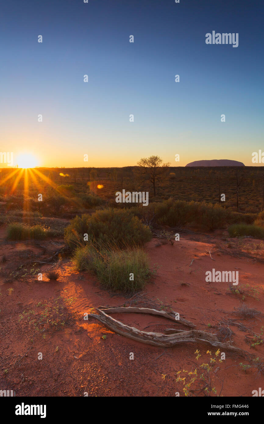 Uluru (UNESCO World Heritage Site) at dawn, Uluru-Kata Tjuta National Park, Northern Territory, Australia - Stock Image