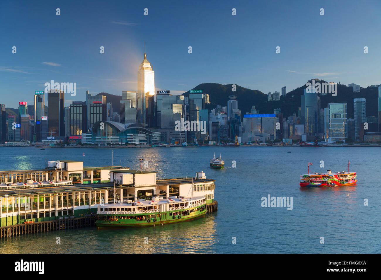 View of Star Ferry Terminal and Hong Kong Island skyline, Hong Kong, China - Stock Image