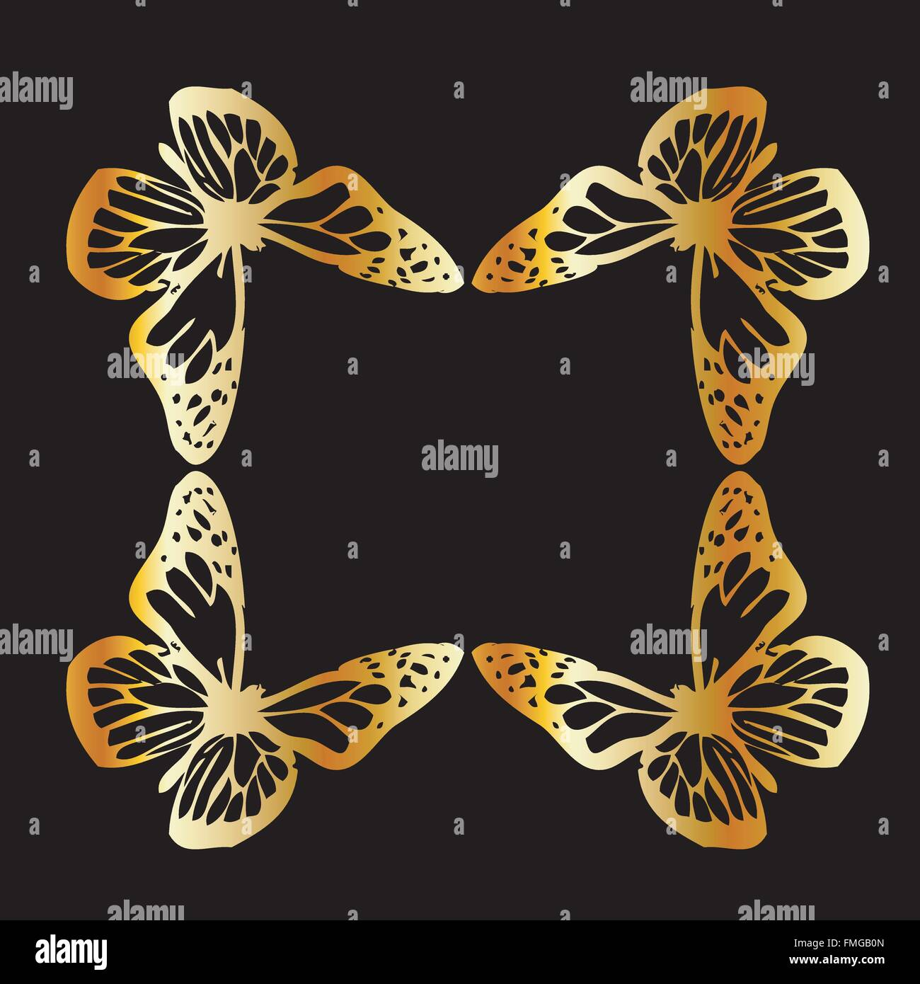 Golden butterfly design element on black - Stock Vector