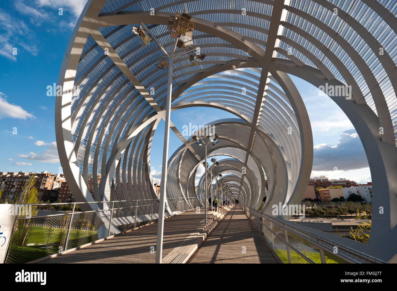 Arganzuela Bridge in Madrid Rio Park, Madrid, Spain - Stock Image