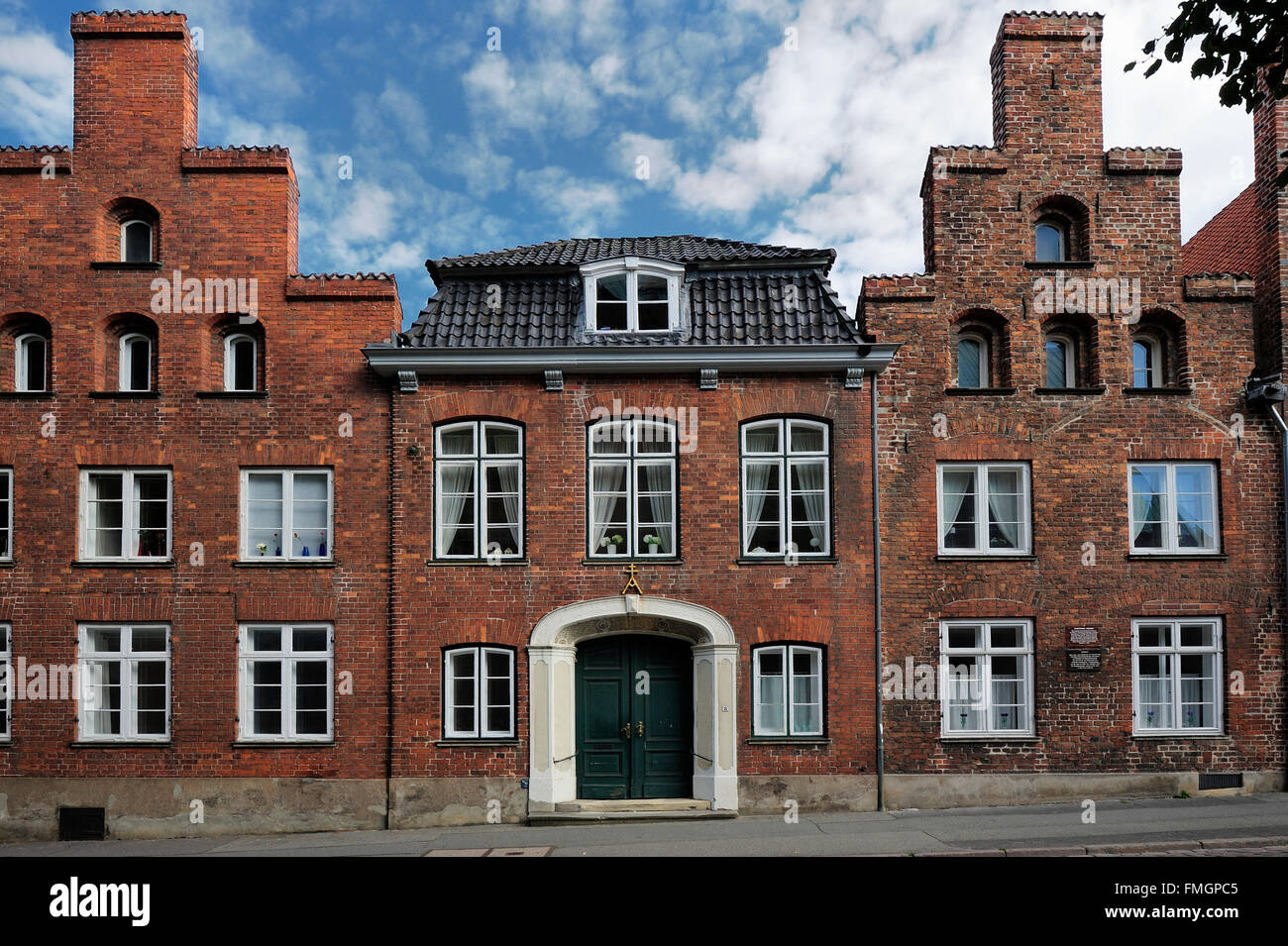 facade of traditional buildings, Mengstrasse, Lubeck, Germany - Stock Image