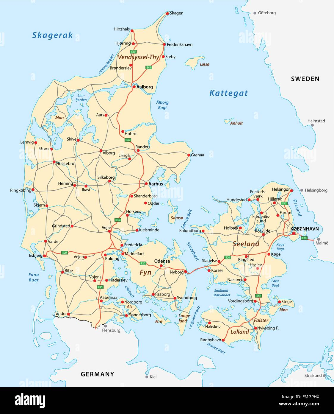denmark road map - Stock Image
