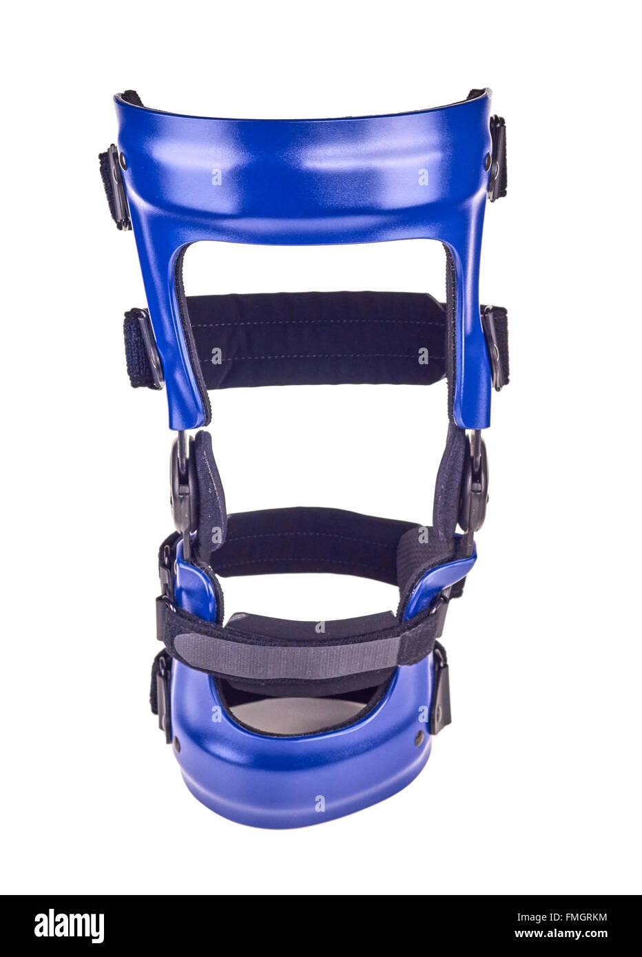 Blue rigged knee brace isolated over white. - Stock Image