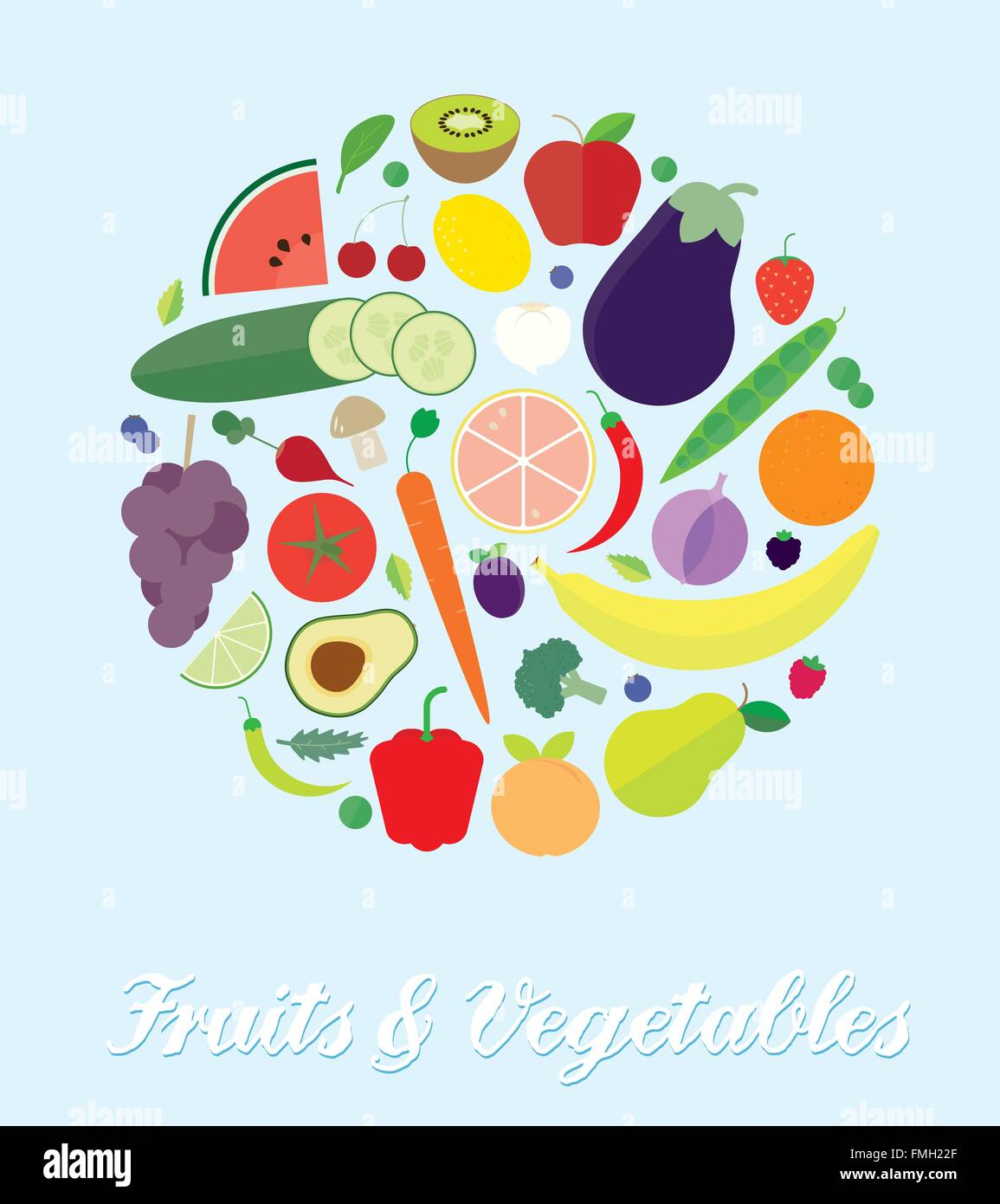Illustration of various fruits and vegetables arranged in a circle. Flat design, no gradients or transparencies. - Stock Vector