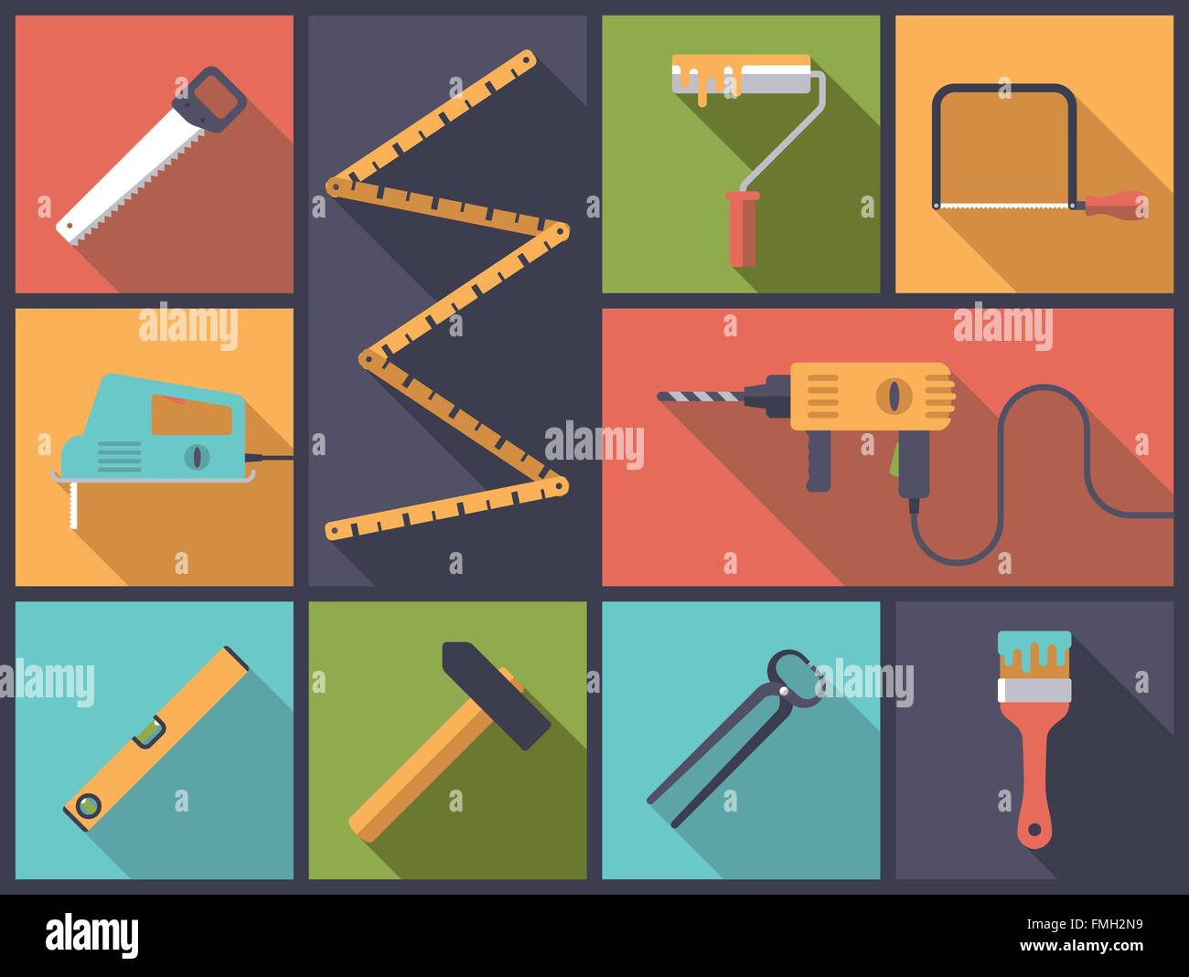 Flat design illustration with various icons related to home improvement and crafts - Stock Image