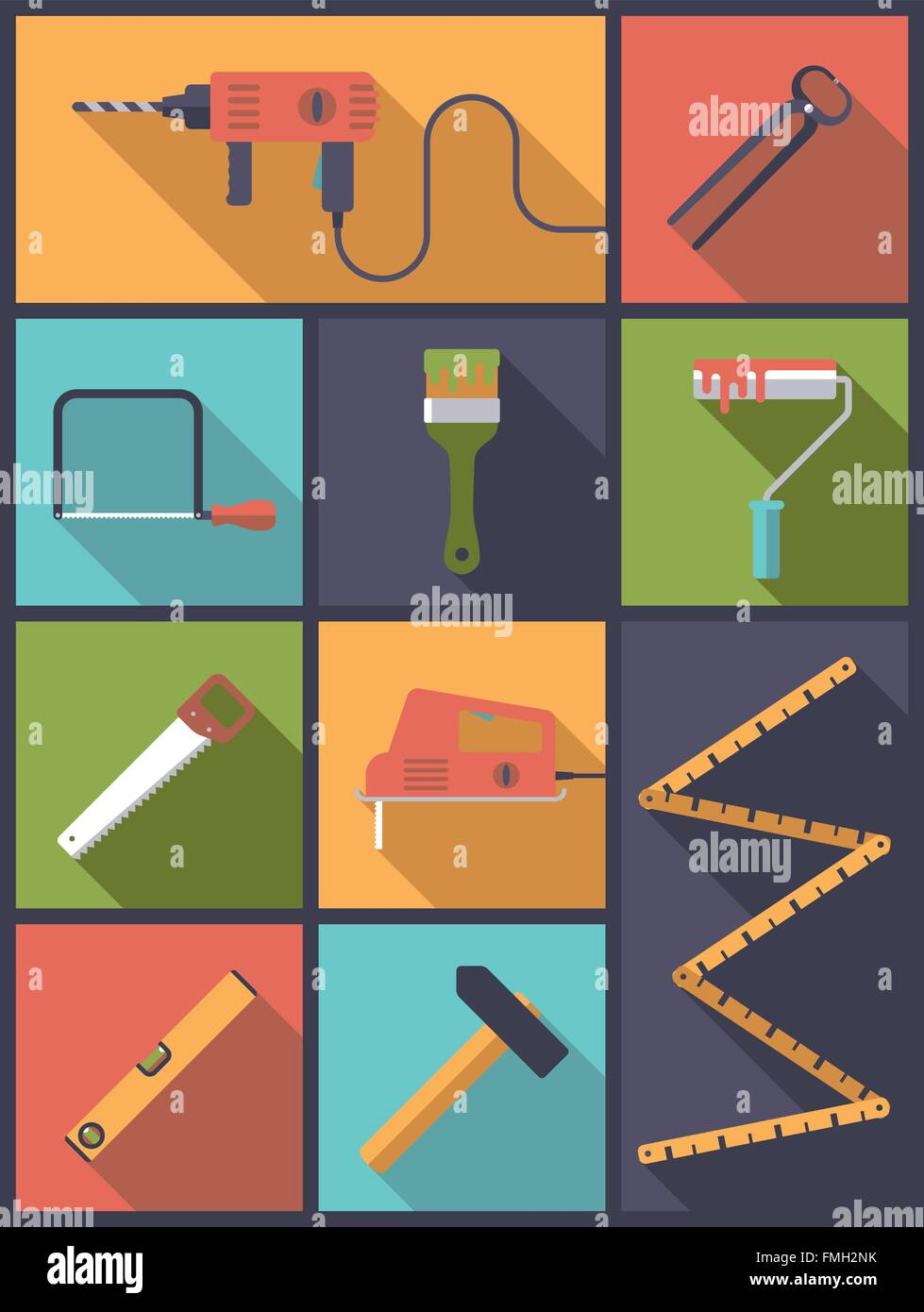 Flat design illustration with various icons related to home improvement and crafts - Stock Vector