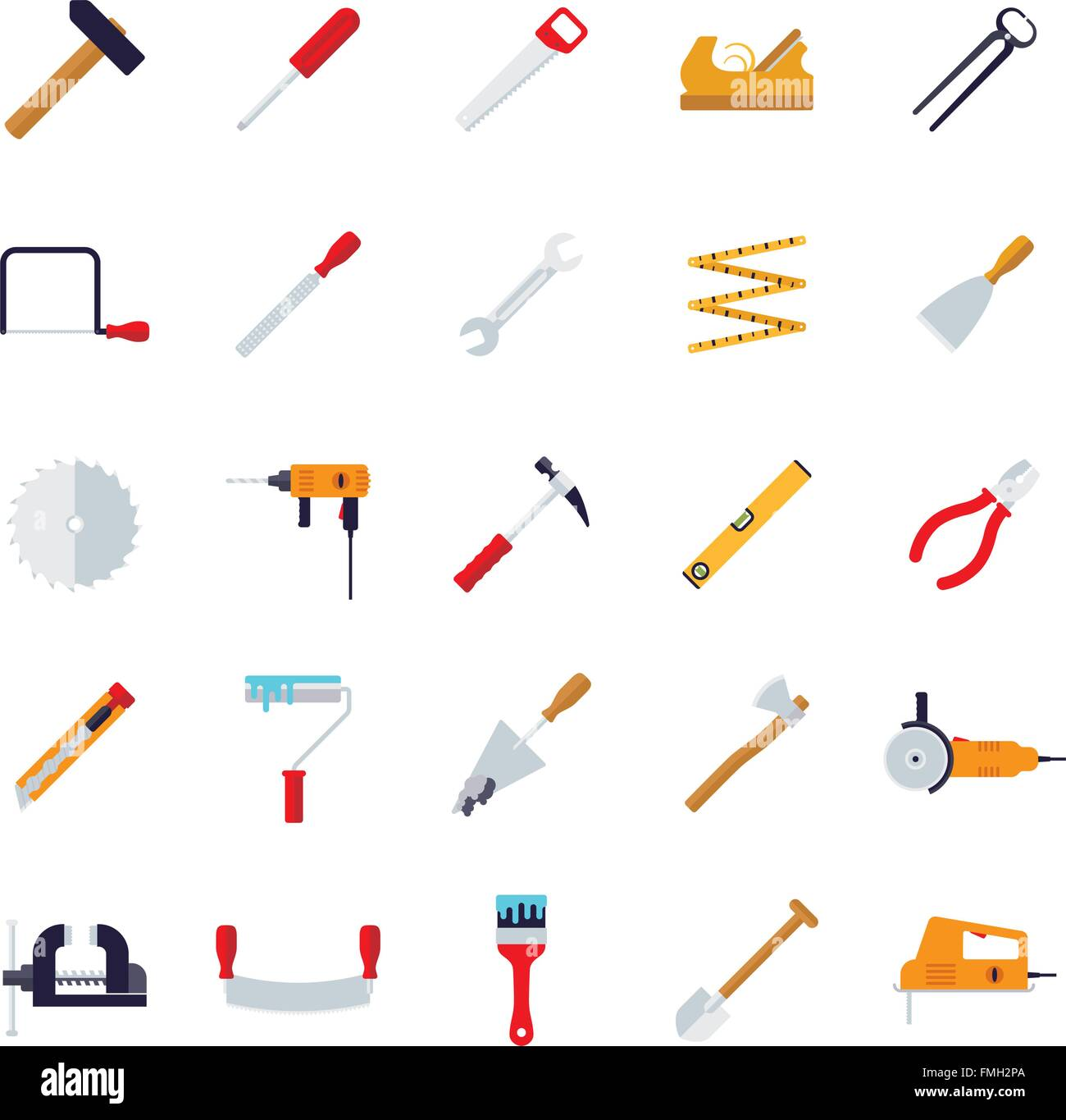 Tools and crafting flat design icons collection - Stock Vector