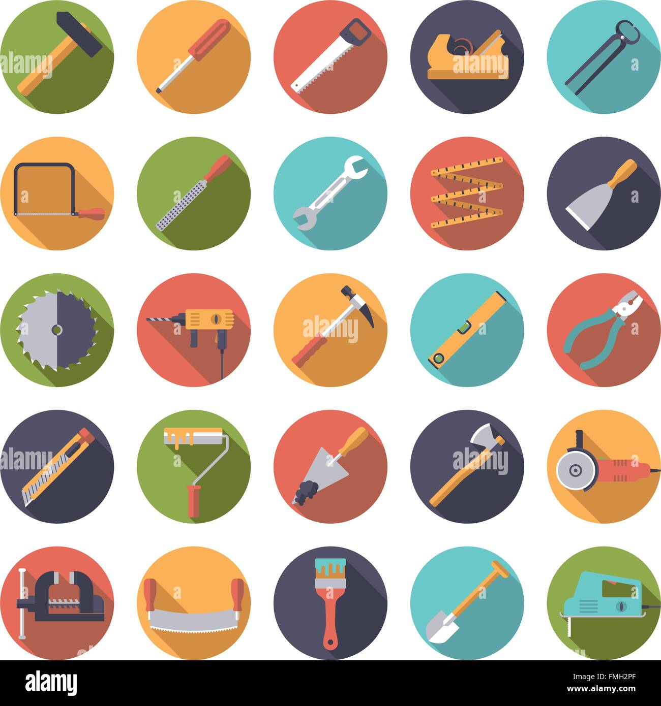 Set of 25 tools and crafting icons in circles, flat design Stock Vector