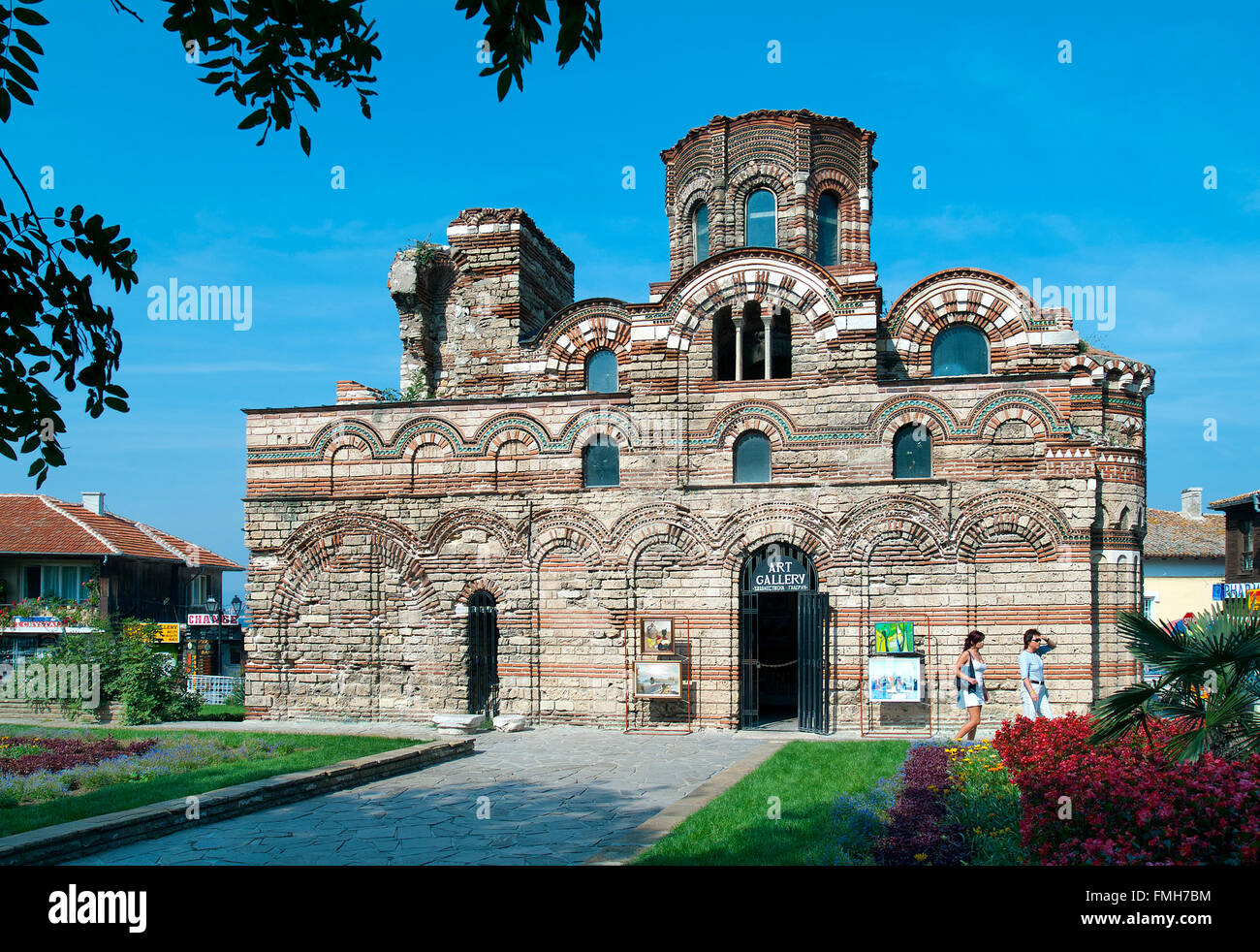 Delapidated Christ Pantocrator Church now used as commercial art gallery, Nessebar, Black Sea, Bulgaria - Stock Image