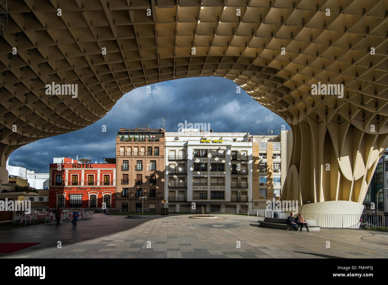 Metropol Parasol wooden structure, Seville, Andalusia, Spain - Stock Image