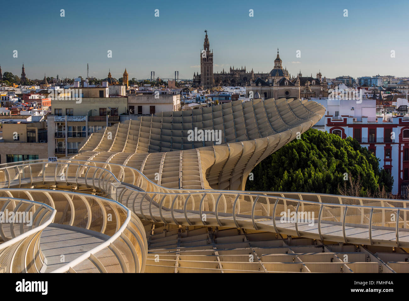 City skyline from the Metropol Parasol, Seville, Andalusia, Spain - Stock Image
