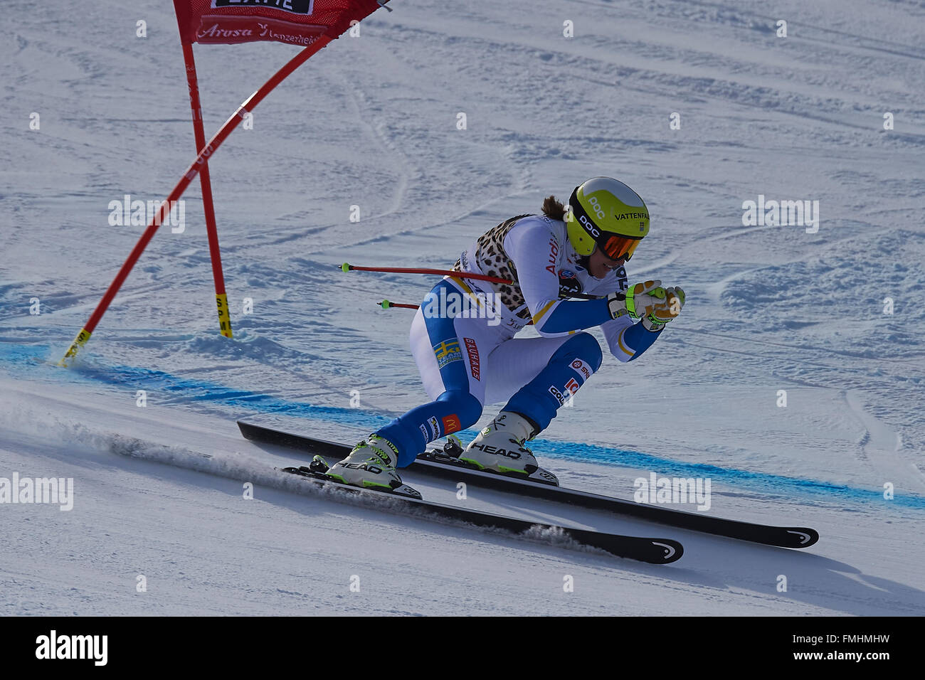 Lenzerheide, Switzerland. 12th March, 2016. Kajsa Kling (SWE) during her run in the Ladies' Super G at the Audi - Stock Image