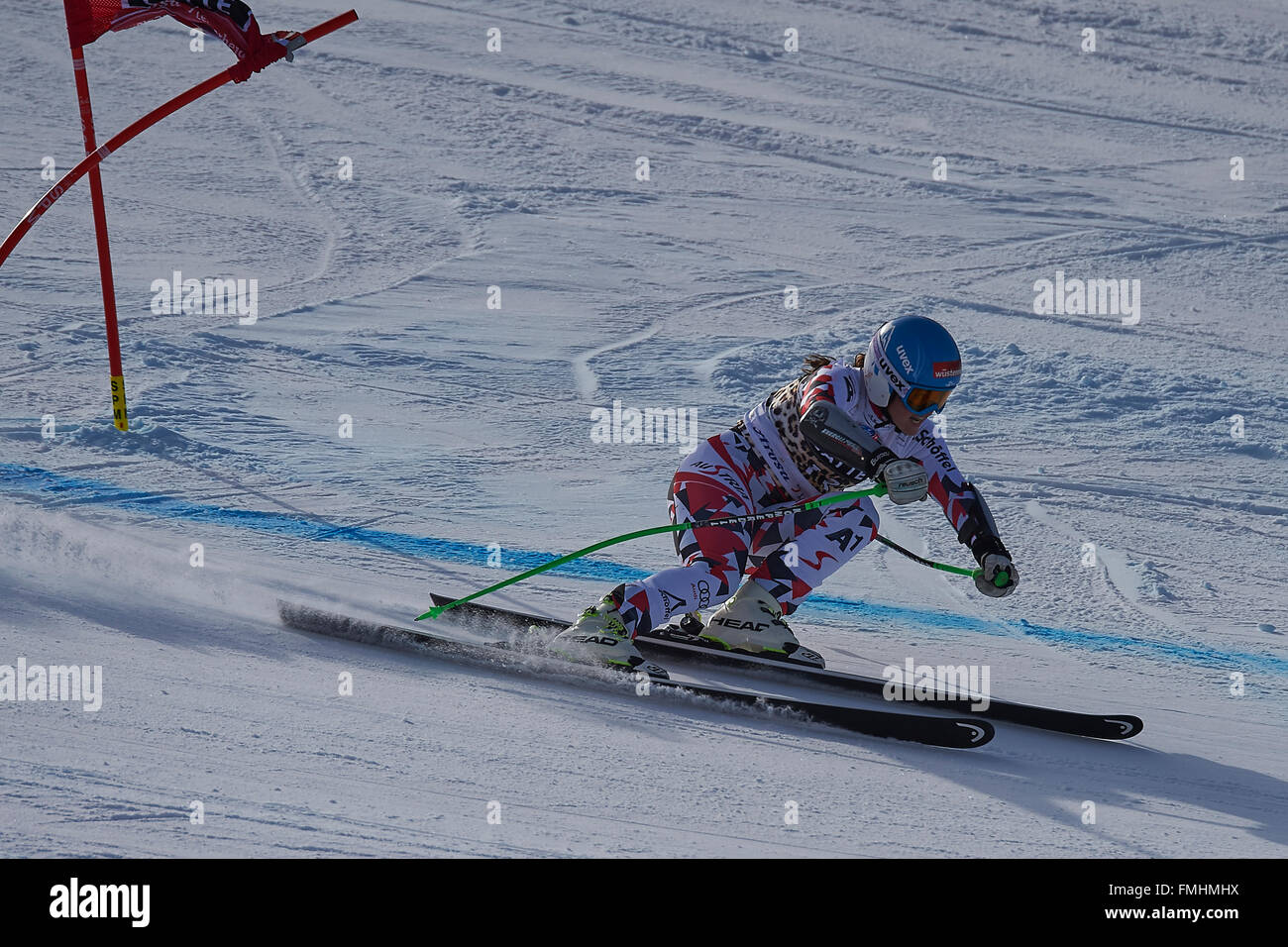 Lenzerheide, Switzerland. 12th March, 2016. Elisabeth Goergl (AUT) during her run in the Ladies' Super G at the - Stock Image