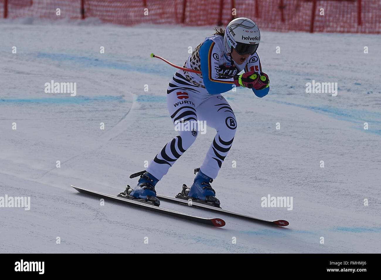 Lenzerheide, Switzerland. 12th March, 2016. Viktoria Rebensburg (GER) during her run in the Ladies' Super G at the Stock Photo