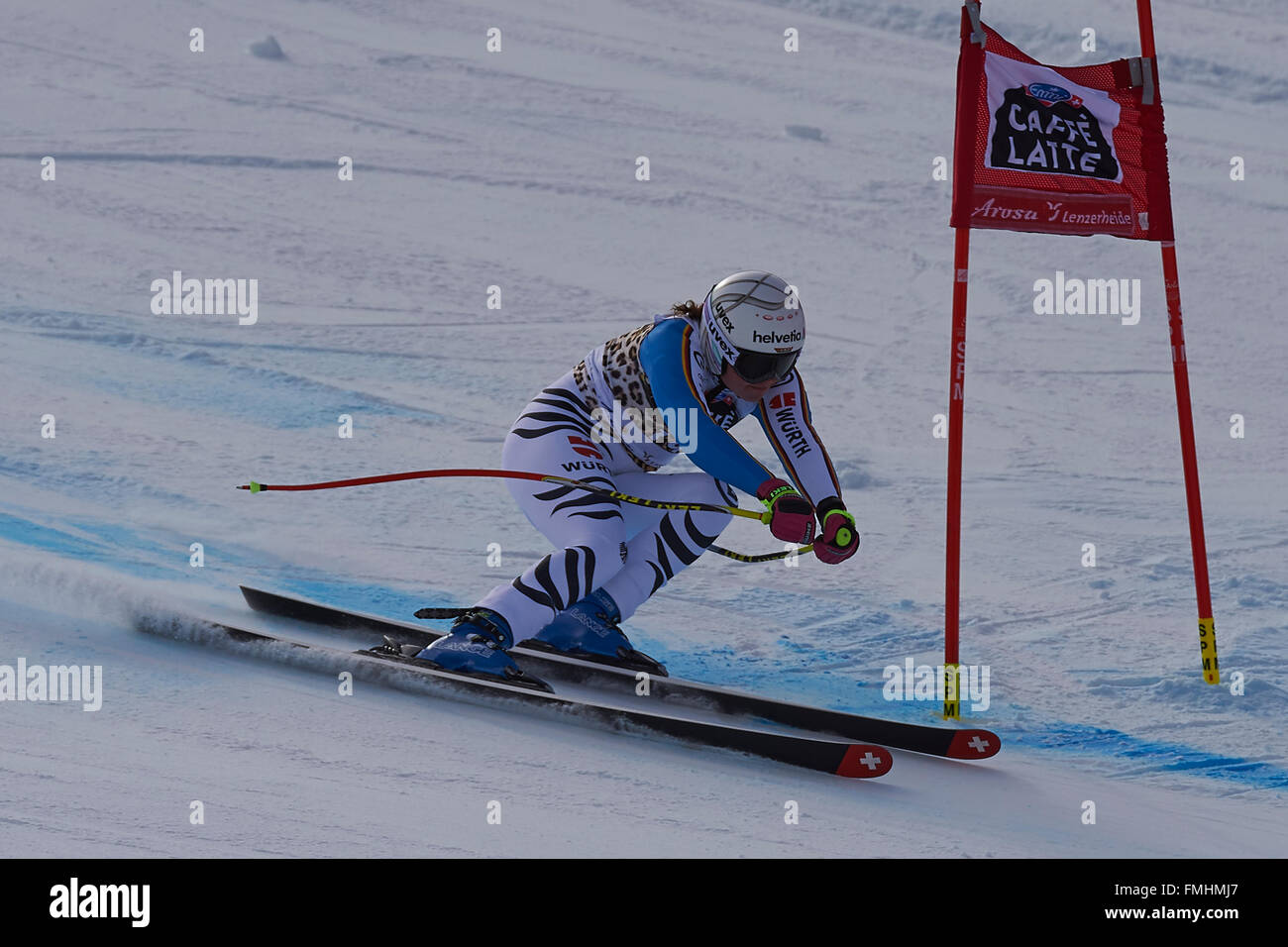 Lenzerheide, Switzerland. 12th March, 2016. Viktoria Rebensburg (GER) during her run in the Ladies' Super G at the - Stock Image