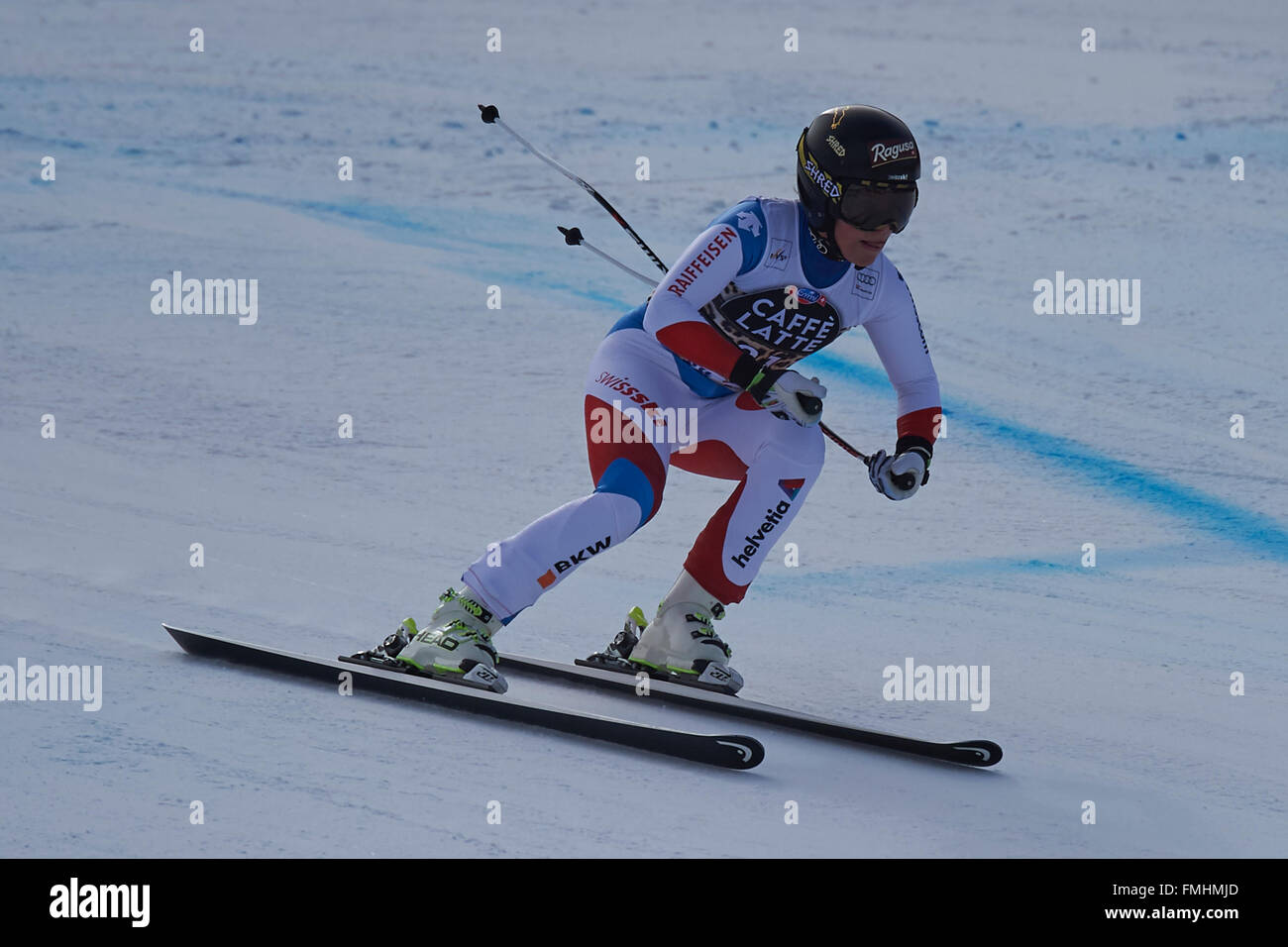 Lenzerheide, Switzerland. 12th March, 2016. Lara Gut (SUI) during her run in the Ladies' Super G at the Audi FIS Stock Photo