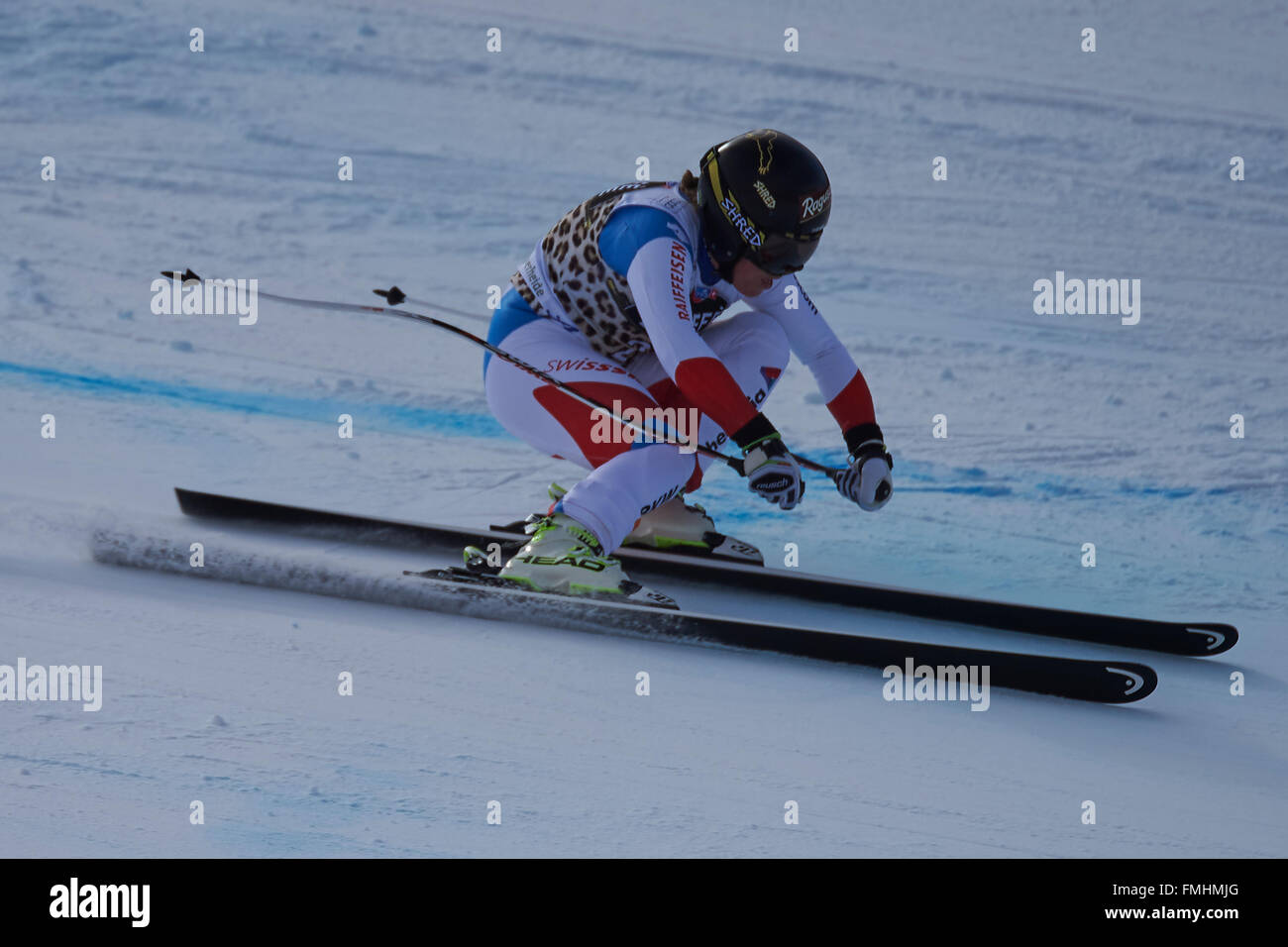 Lenzerheide, Switzerland. 12th March, 2016. Lara Gut (SUI) during her run in the Ladies' Super G at the Audi FIS - Stock Image