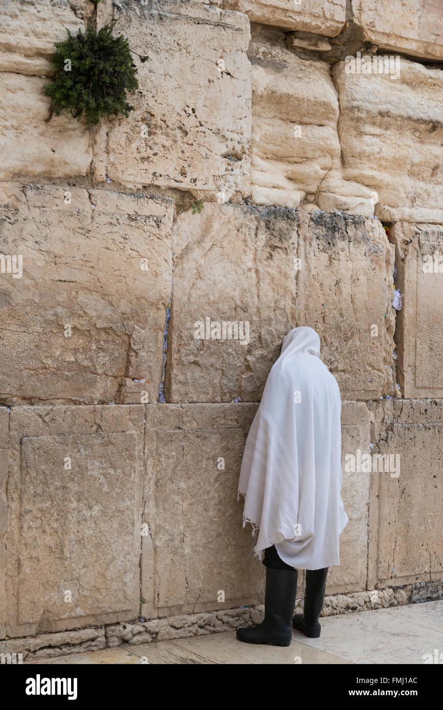 Jews praying at the Western Wall. Jerusalem Old City. Israel. - Stock Image