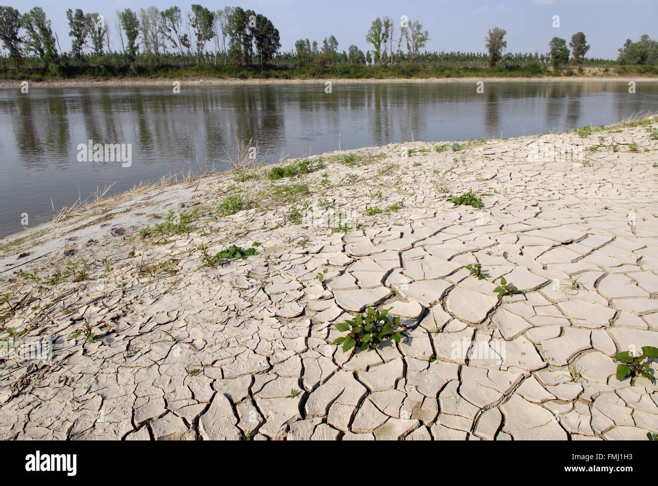 Italy, exceptional low water of the Po river at  Boretto (Parma) - Stock Image