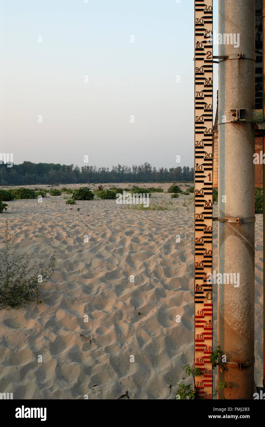 Lombardy, the Po Valley, Italy, extraordinary drought at Becca bridge, near confluence between the Po and Ticino - Stock Image