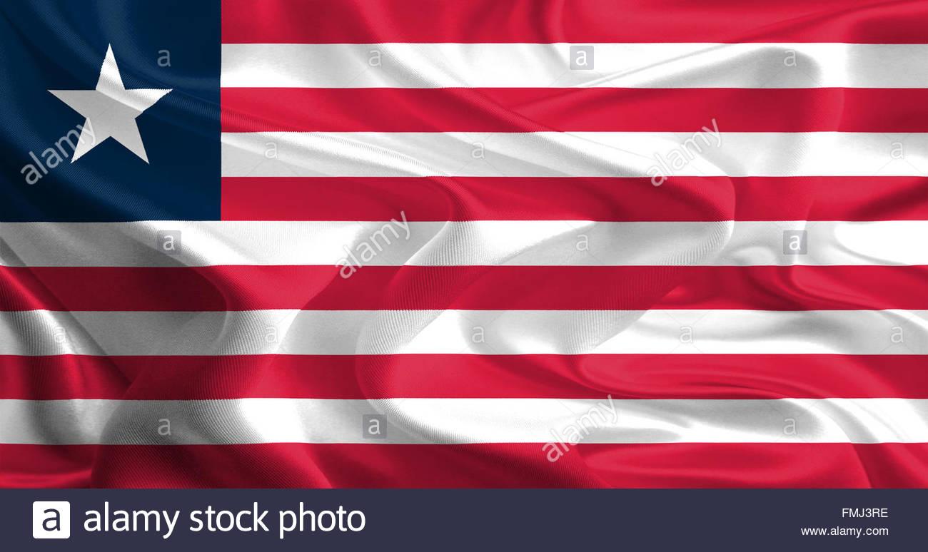 Waving Fabric Flag of Liberia - Stock Image