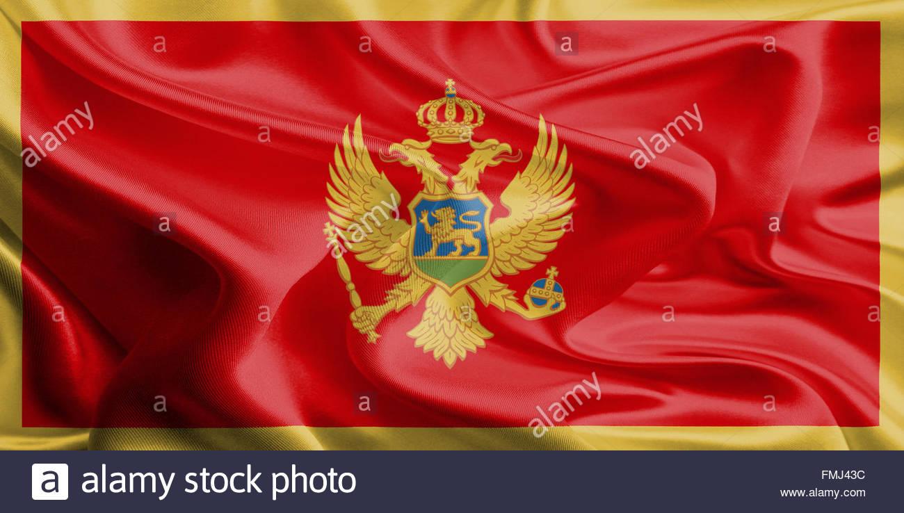 Waving Fabric Flag of Montenegro Stock Photo