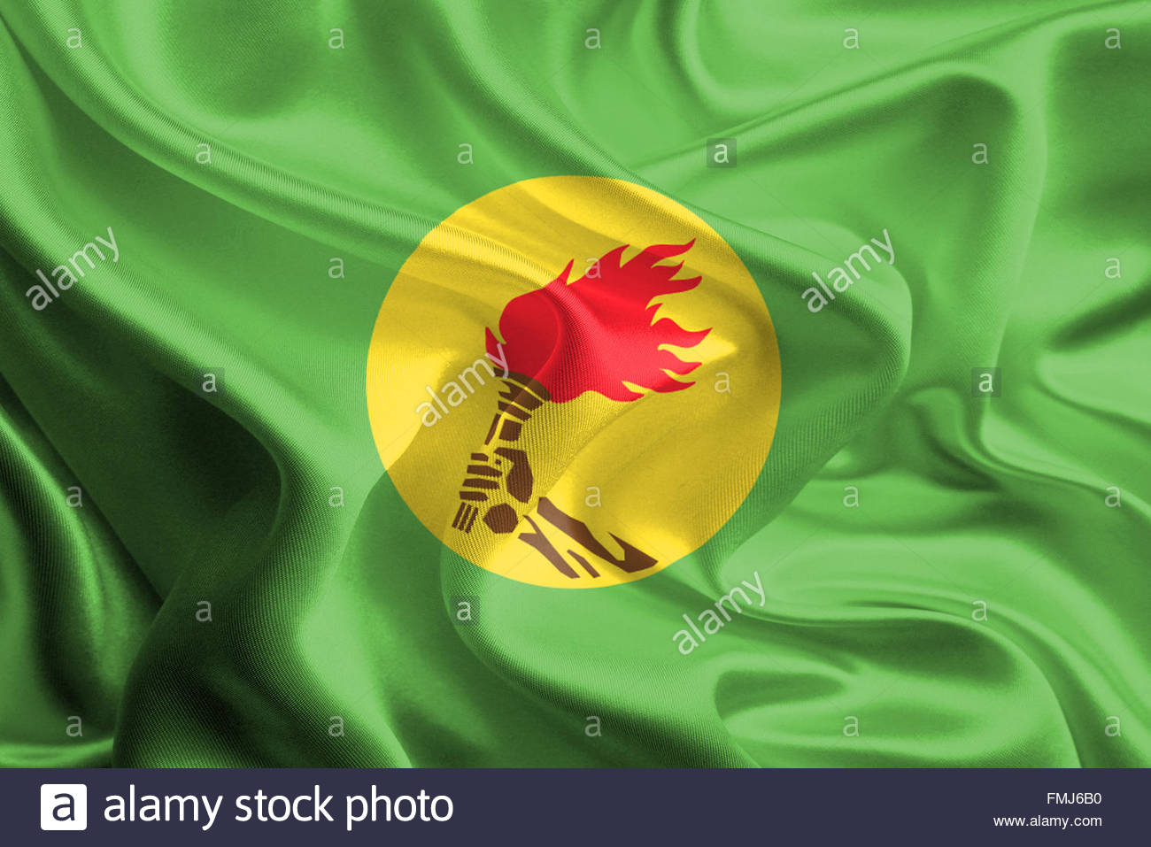 Waving Fabric Flag of Zaire - Stock Image