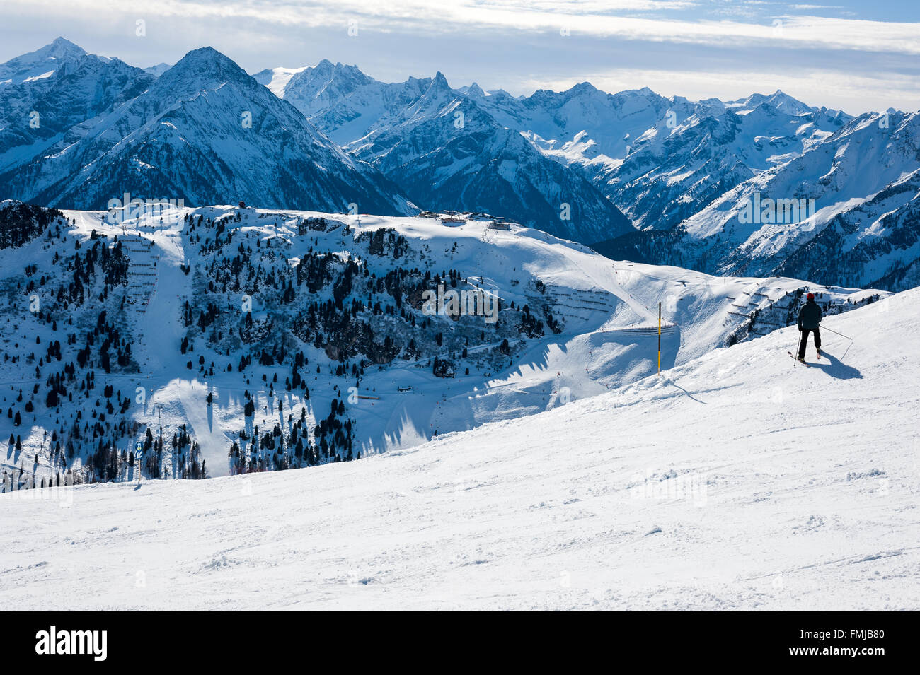 Mayrhofen ski area in Austrian Alps - Stock Image