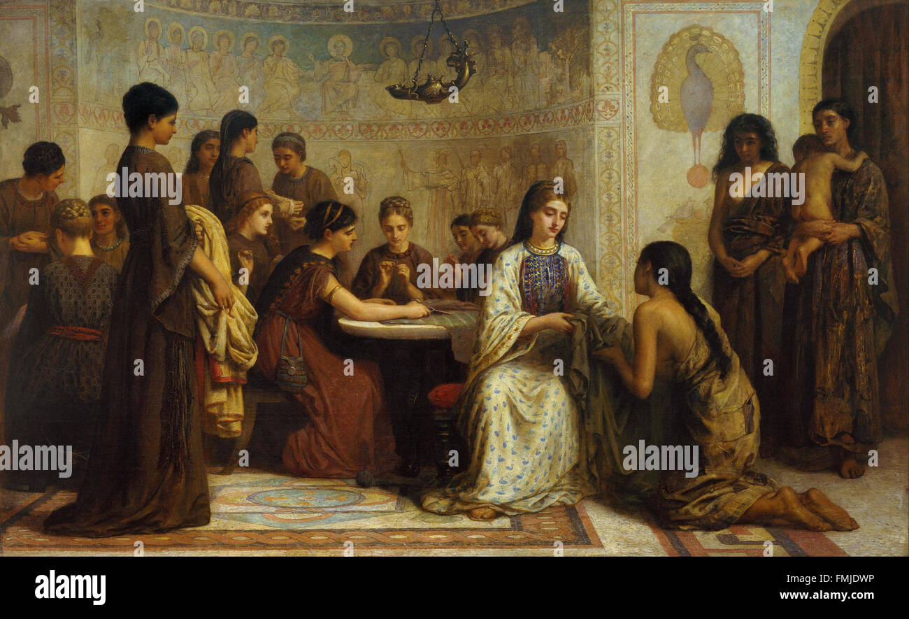 Edwin Long - A Dorcas meeting in the 6th century - Stock Image