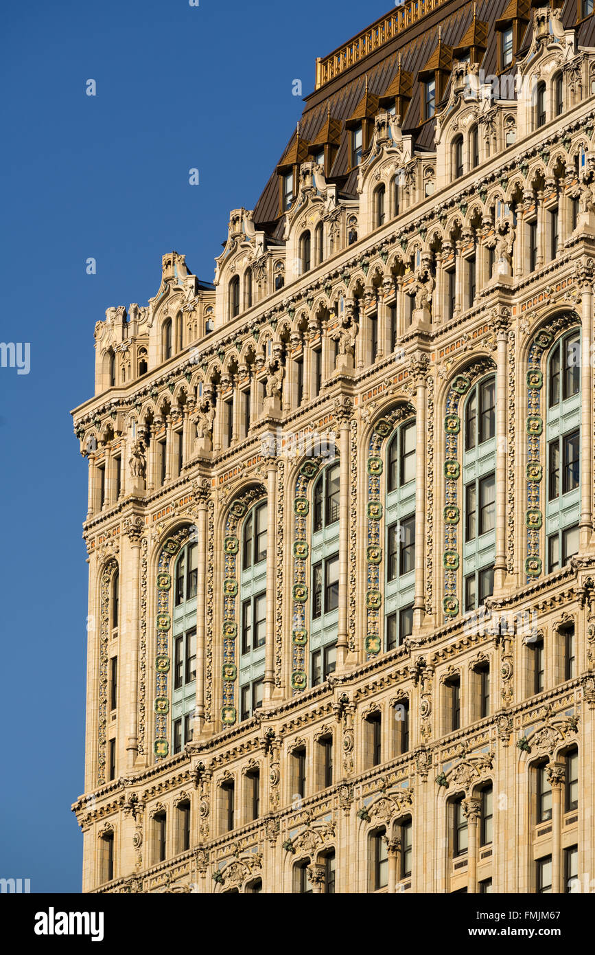 Architectural detail of the 90 West Street building facade with intricate terracotta ornaments. Lower Manhattan, - Stock Image