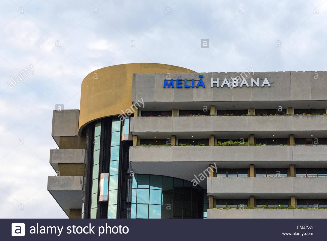Melia Habana exterior facade architectural detail. Located in Havana's quiet and quaint Miramar district the Melia - Stock Image