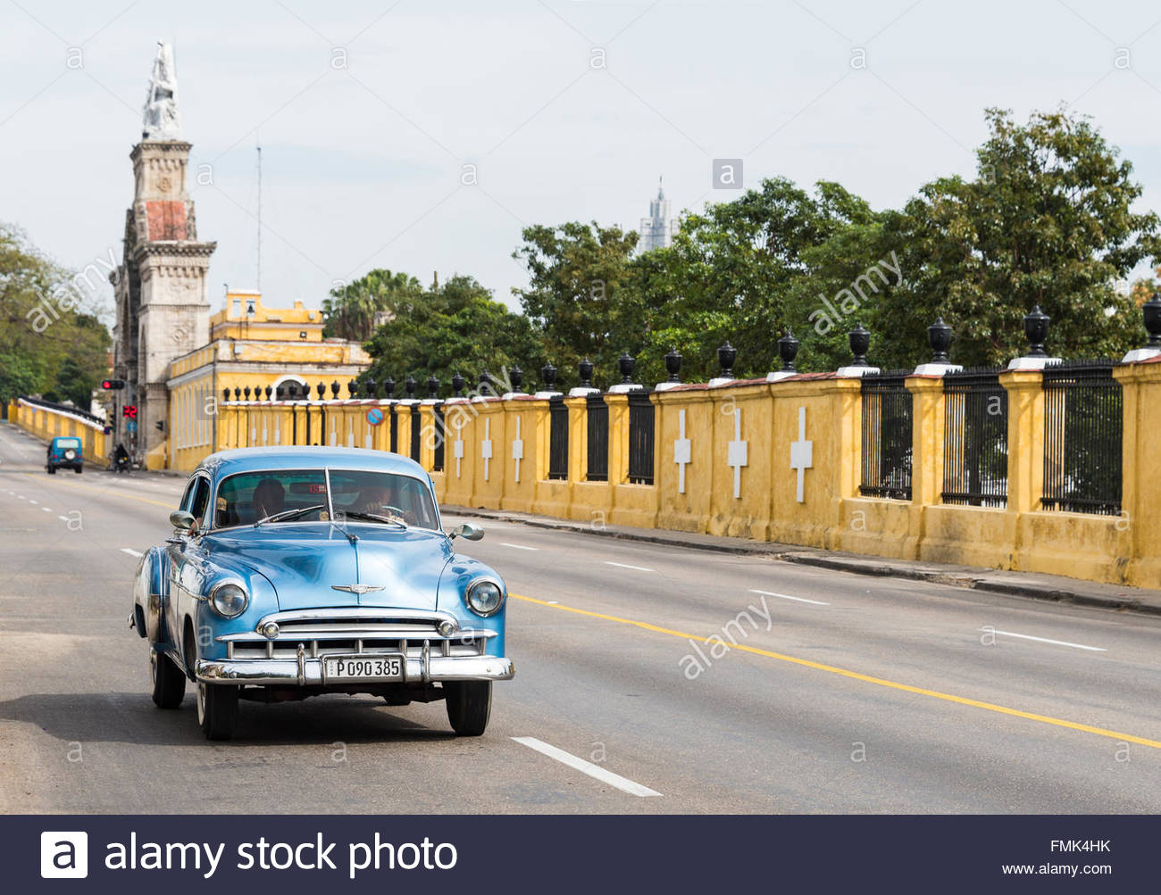 Old obsolete vehicles in Colon Cemetery landmark.  Both, Cars and the tombs field are major tourist attractions Stock Photo