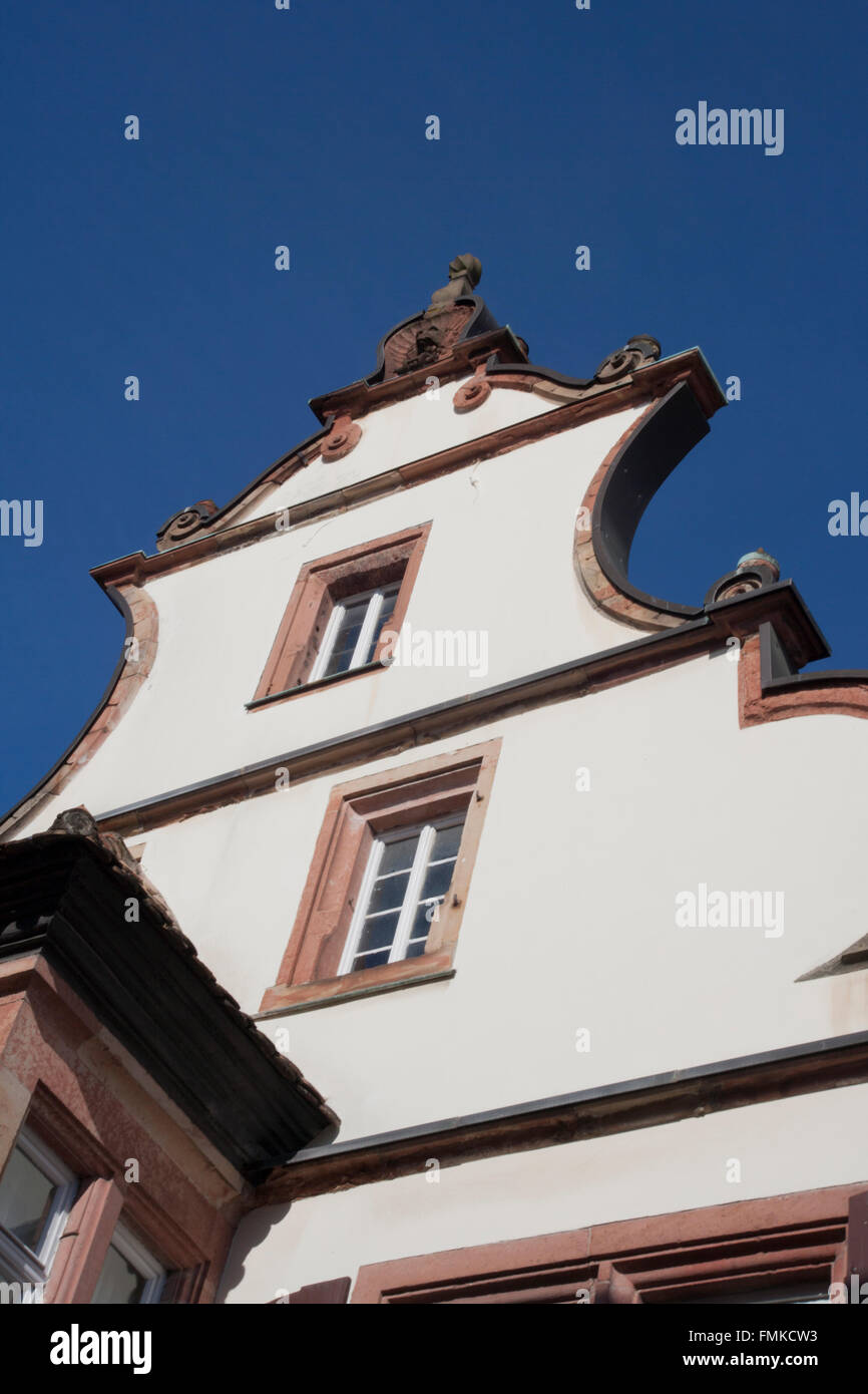 Gable house detail. SANKT MARTIN,Rhineland-Palatinate ,Germany. - Stock Image