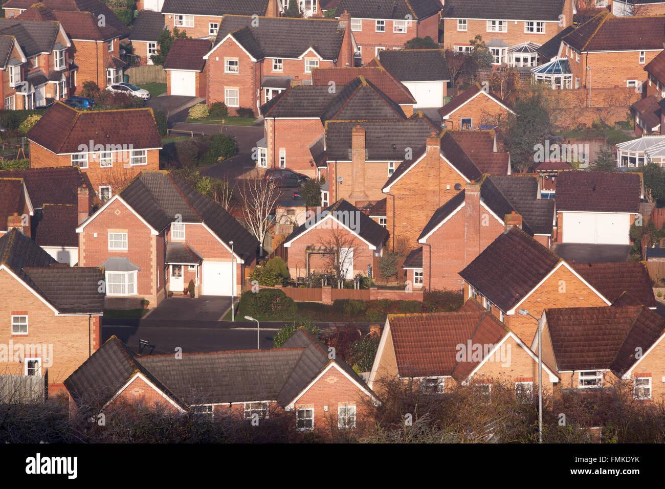 New housing development in Glastonbury,Town, viewed from Wearyall Hill,Somerset,England,U.K.,Europe. - Stock Image