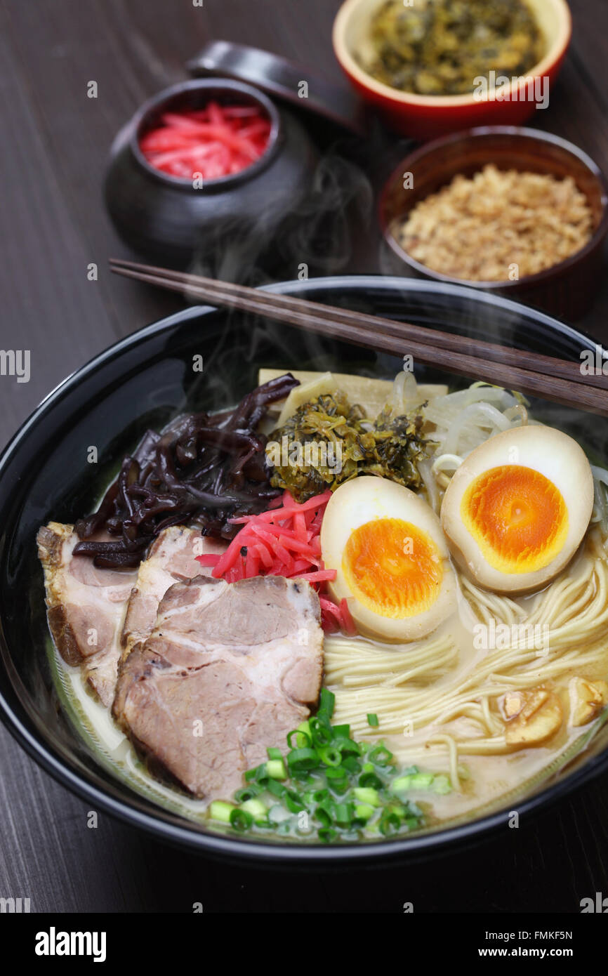 japanese tonkotsu ramen, pork bone broth noodles - Stock Image