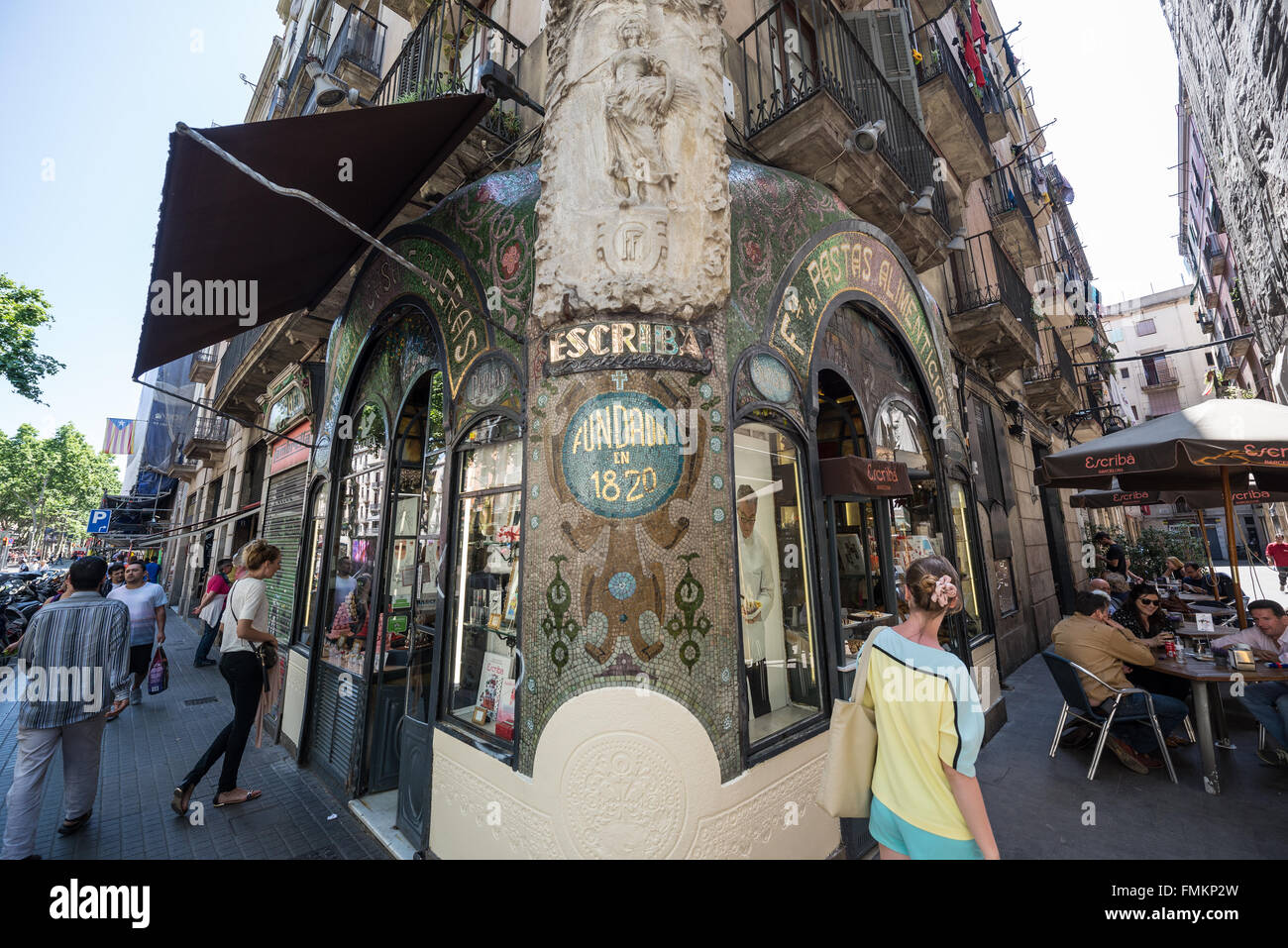 Escriba confectionery in Antigua Casa Figueras at La Rambla street in Barcelona, Spain - Stock Image