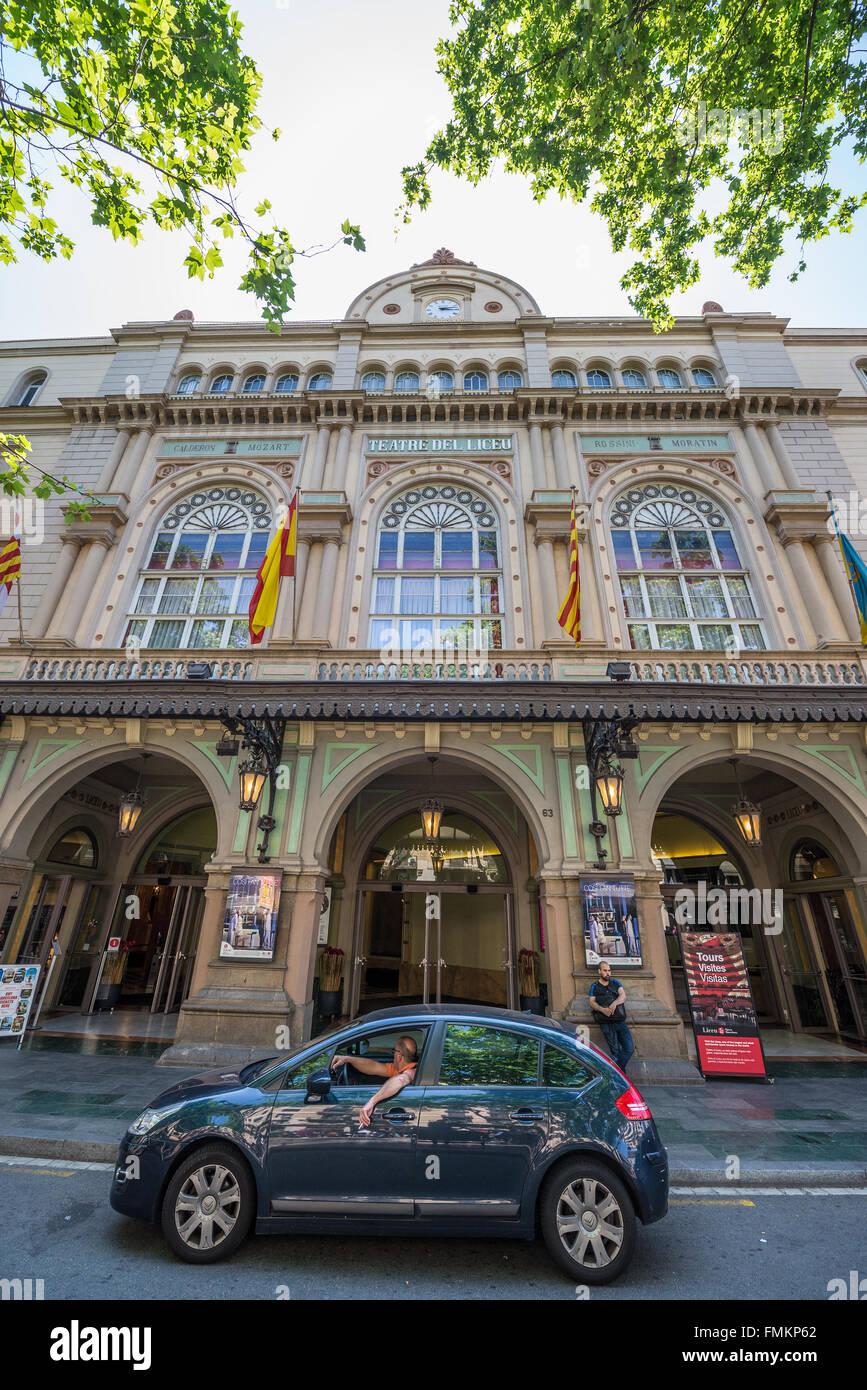Gran Teatre del Liceu opera house at La Rambla street in Barcelona, Spain - Stock Image