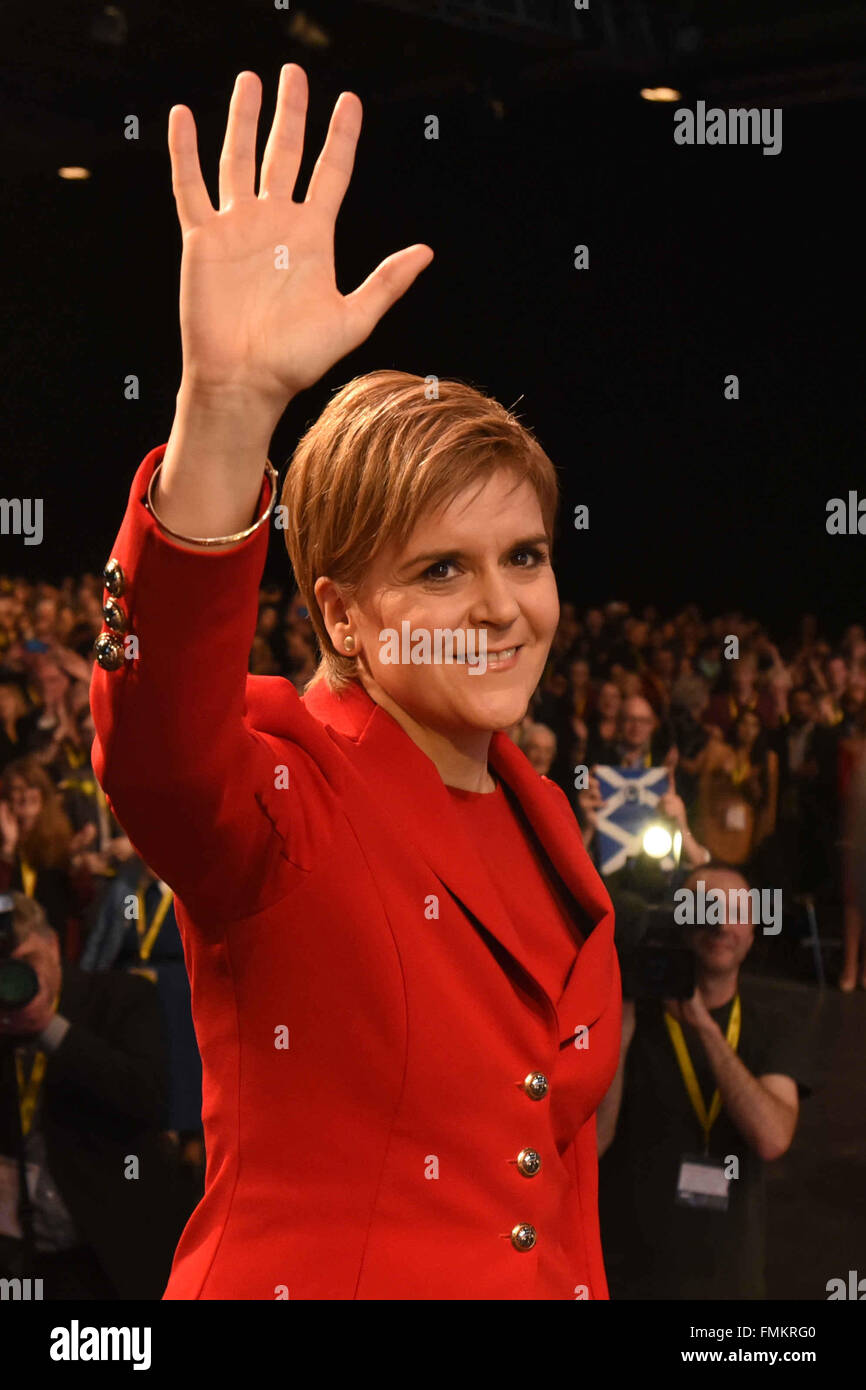 Glasgow, Scotland, United Kingdom, 12, March, 2016. SNP leader Nicola Sturgeon acknowledges applause for her keynote - Stock Image