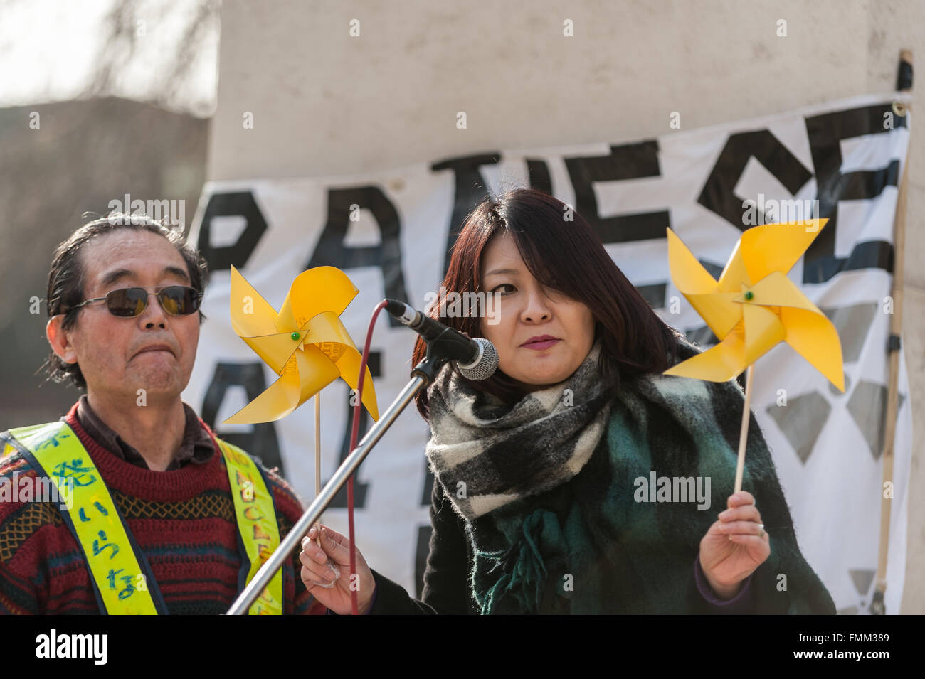 London, UK. 12 March 2016. Japanese speakers at a rally held outside the Houses of Parliament in Westminster to - Stock Image