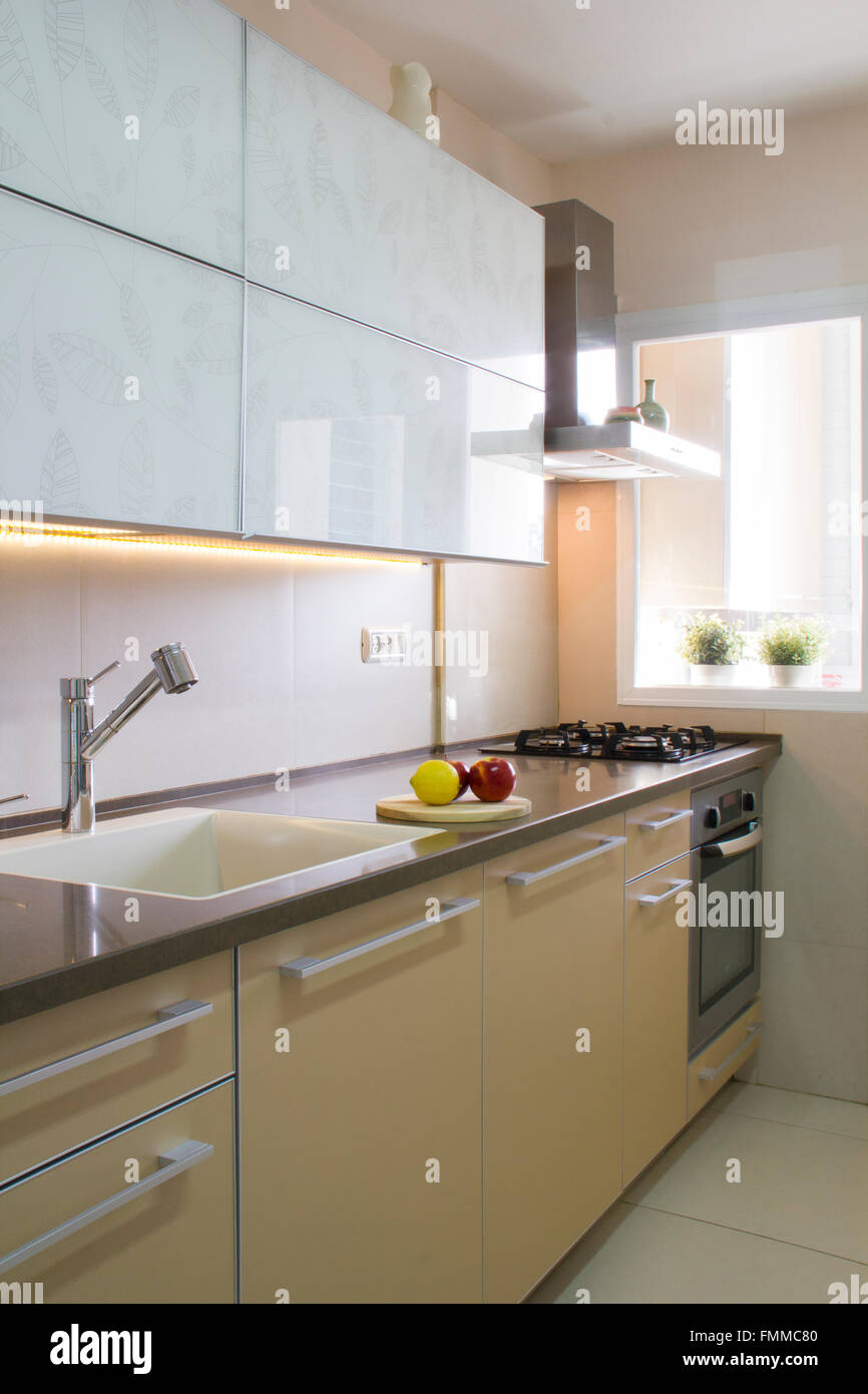 Modern Kitchen Interior In Beige And Cream Colors