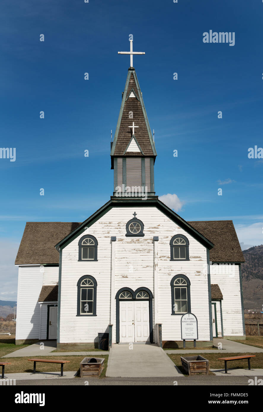 1870's era St Josephs Roman Catholic Church in Kamloops British Columbia, Canada. Stock Photo