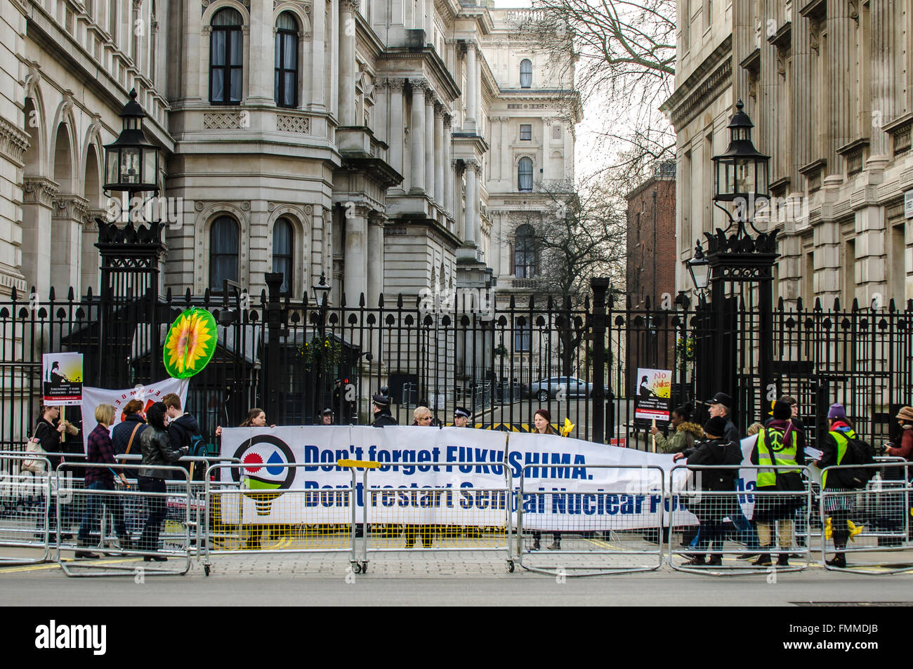On the fifth anniversary of the Fukushima nuclear plant disaster a rally was held in London protesting against the - Stock Image