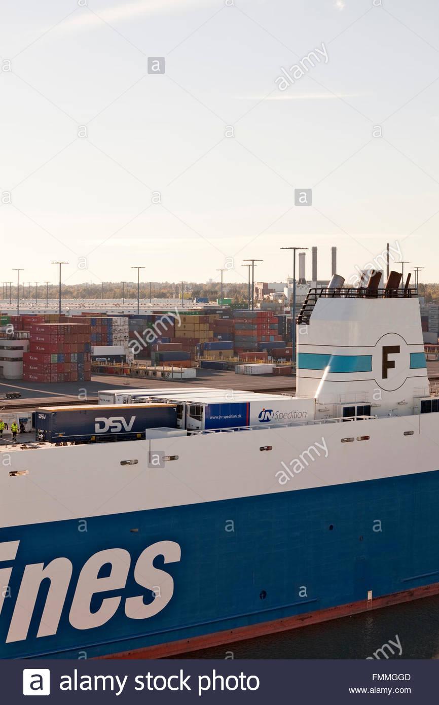 Finnlines freighter at Vuosaari Harbour in Helsinki - Stock Image
