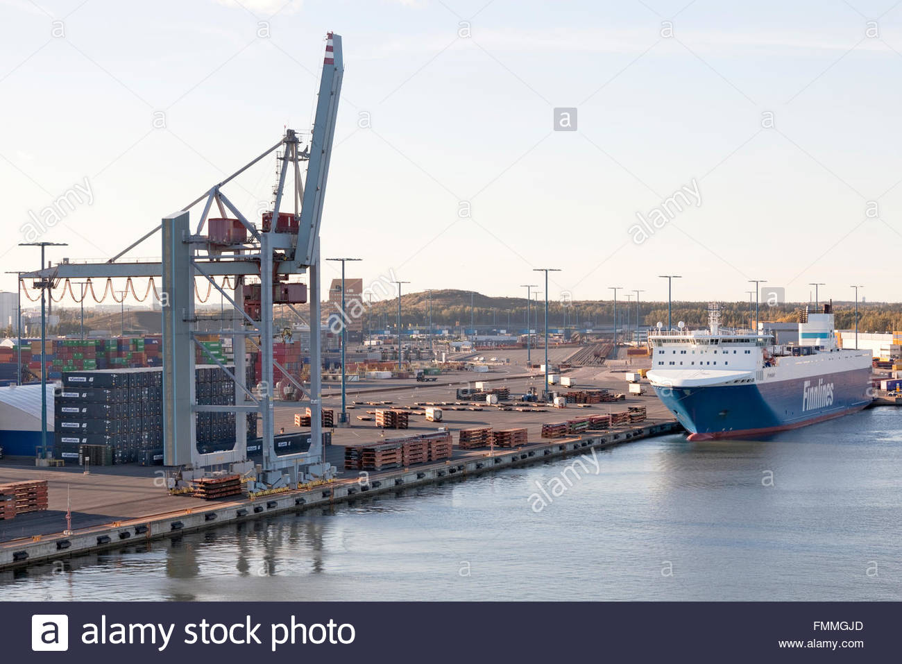 Finnsky freighter at Vuosaari Harbour Stock Photo